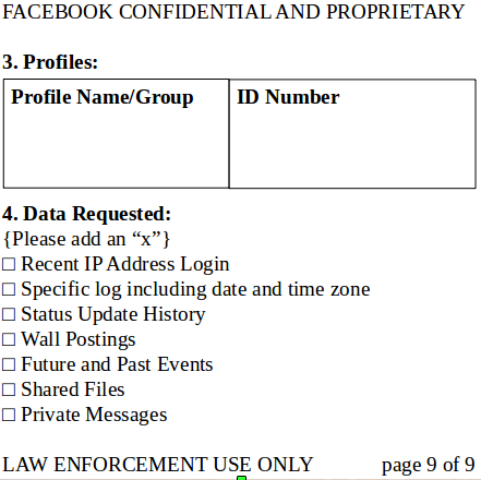 facebook law enforcement form